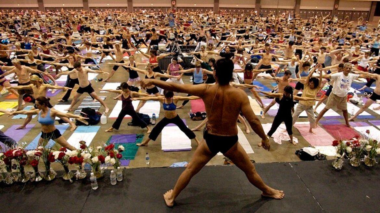 A busy Bikram yoga class