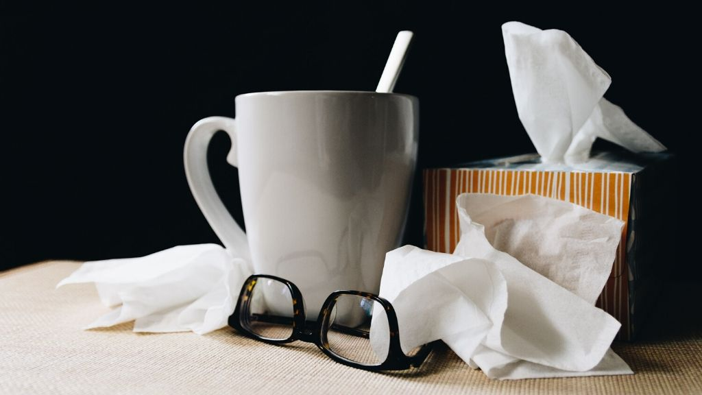 Glasses, tissues and other sick day items