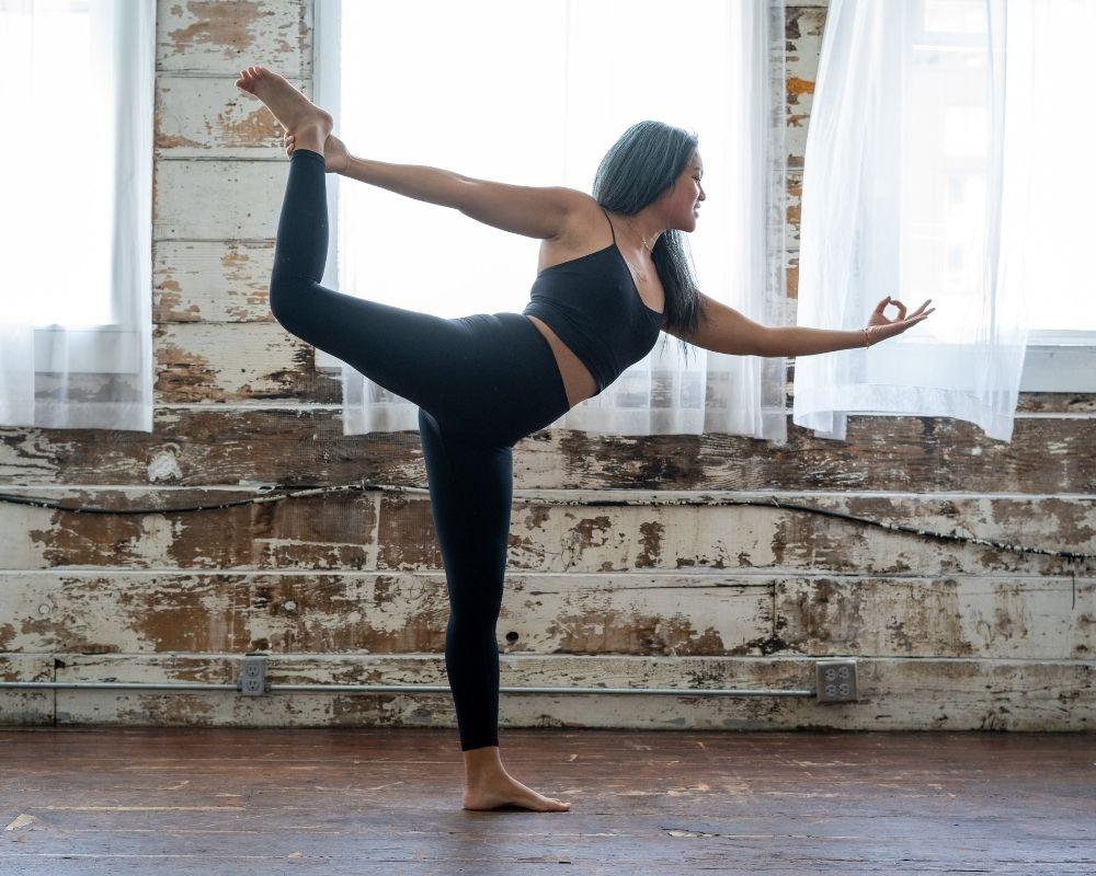 Woman in dancer pose