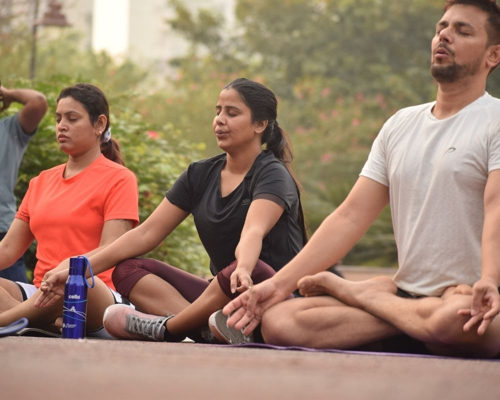 Yoga class breathing